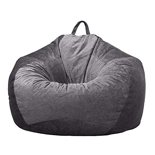 JTWEB Classic Bean Bag Chairs Sofa Cover without Filling Soft Velvet Lazy Lounger Storage Sofa Slipcover with Handle for Adults and Kids (Dark Grey, L:90 * 110cm)