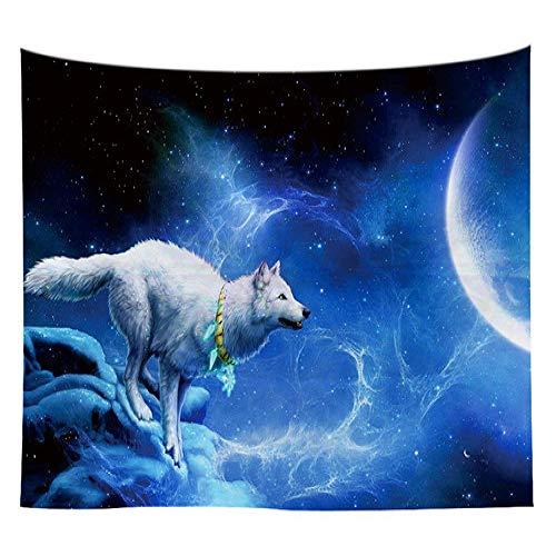 mmzki Sternenhimmel Löwe Wolf Wandteppich Hauptdekorationen Bunte Tier Wandbehang für Wohnzimmer Wandteppich Teppich 14 150x130cm
