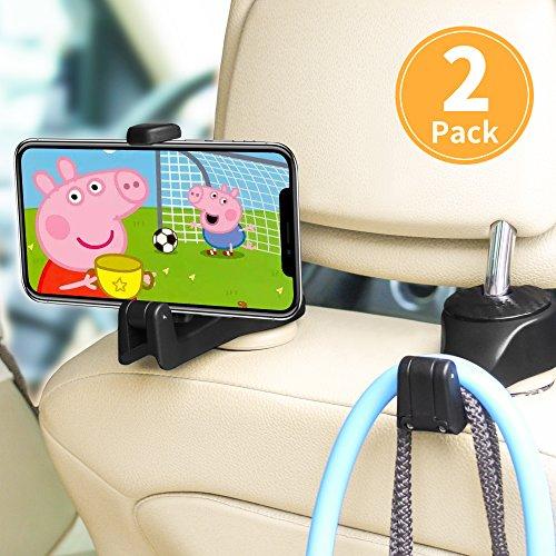 Auto Kopfstützen Haken, ASANMU 2 Stück Auto Haken Auto Aufhänger mit Telefon Halter, Universal...