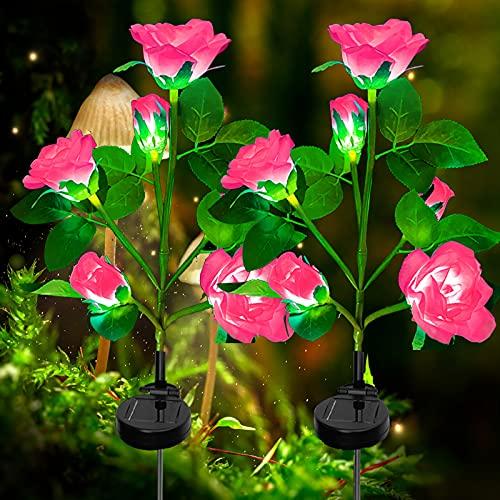 Lampada Solare da Esterno,2 Pezzi luci solari del fiore della 10 rosa, Impermeabile Luci Esterno Energia Solare Fiori Artificiali Da Led illuminazione per esterni Giardino Cortile Natale(rosa)