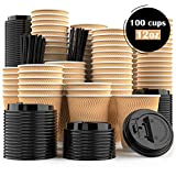 Disposable Coffee Cups with Lids and Stirrer Straws - Bulk Set of 100 - Small 12 oz Compostable Biodegradable Insulated Paper Cups for Coffee, Tea, Espresso, Hot Drink - Travel Coffee Cup Set 12oz