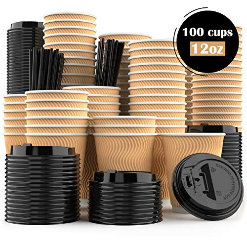 Disposable Coffee Cups with Lids and Stirrer Straws - Bulk Set of 100 - Small 12 oz Compostable Biodegradable Insulated...