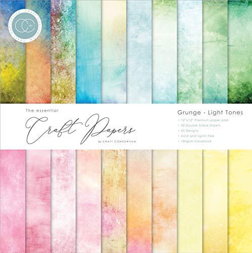 Craft Consortium Double-Sided Paper Pad 12'X12' 30/Pkg-Grunge-Light Tones, 20 Designs, Multi
