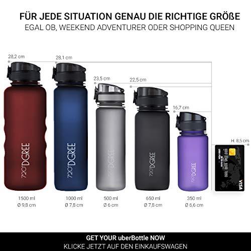 """720°DGREE Trinkflasche """"uberBottle"""" – 1 Liter, 1000ml, Schwarz   Neuartige Tritan Wasser-Flasche   Water Bottle BPA Frei   Ideale Sportflasche für Kinder, Fitness, Fahrrad, Sport, Fussball - 4"""