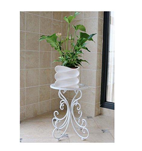 FZN Fleur de Style européen Jardin Balcon en Fer forgé Sol siège intérieur Simples Plantes d'araignée à l'aneth Vert Cadre bonsaï Pots de Fleurs (Couleur : Blanc, Taille : 25 * 34cm)