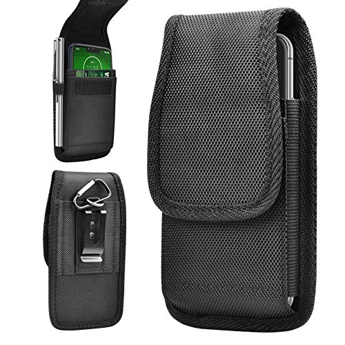 Tiflook Vertical Phone Holster for Moto G Power 2020 G7 Power Play Supra/E6 E5 Play Plus Go/Z4 Z3,Nylon Military Grade Heavy Duty Carrying Case Pouch Cover with Belt Clip Loop Card Holder (Black)