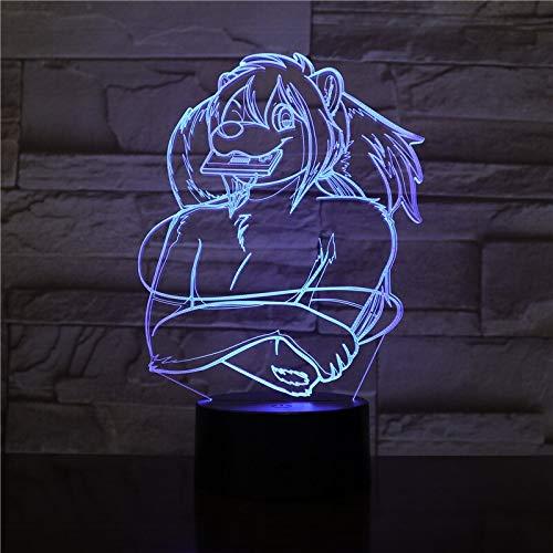Only 1 Piece 3D Vision Alien 3D Light 7 Colors Star Beast Lion King USB LED Table Lamp Acrylic Party Decor Figures Led Bulb