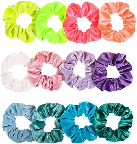 Whaline Blush Theme Hair Scrunchies Velvet Elastics Pink Lovers Scrunchy Bobbles Soft Hair Bands Hair Ties Hair Accessories for Women or Girls (12 Blush)