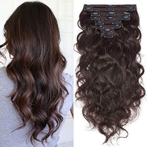 Clip in Extensions Echthaar Remy Haarverlängerung für komplette Haare 8 Tressen Doppelt Dicke Gewellt 45cm-140g(#2 Dunkelbraun)