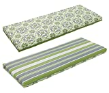 BOSSIMA Indoor Outdoor Swing Bench Loveseat Cushion Replacement Patio Seating Cushions (Green/Grey Damask/Striped)