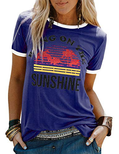 Dresswel Damen Bring On The Sunshine T Shirt Kurzarm Rundhals Sunshine Top T-Shirt Sommer Oberteile Oben, Blau, Size XL(EU 42-44)
