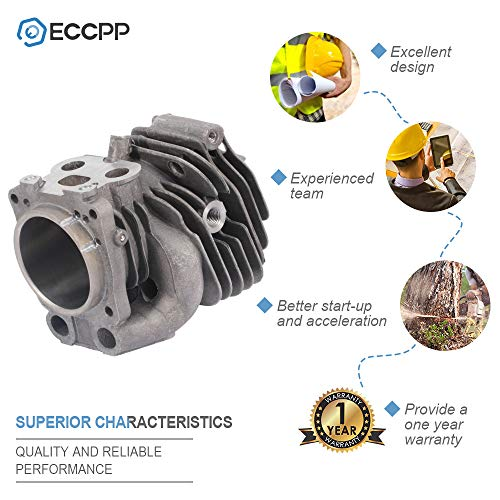 ECCPP 51mm Cylinder Head Piston Kit fit for Husqvarna K750 K760 Concrete Saw Replaces 506-38-61-71 Piston Pin Rings Circlip Chainsaw Parts New