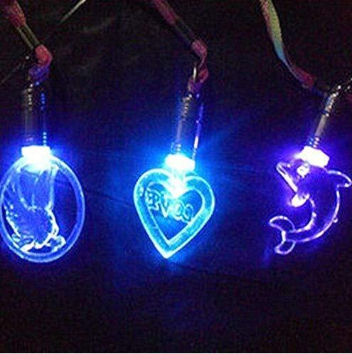 Gwill 10 Unidades de Collar con Colgante de Flash de Caricatura de acrílico con Luces LED, Collar de Juguetes Luminosos, Collar Creativo Brillante para decoración de Collares