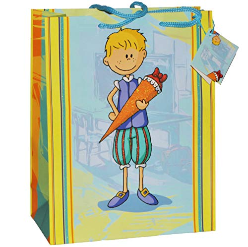 alles-meine.de GmbH Geschenkbeutel / Geschenktasche Junge groß - Schulanfang Schuleinführung Geschenktüte Tüte Tasche Beutel