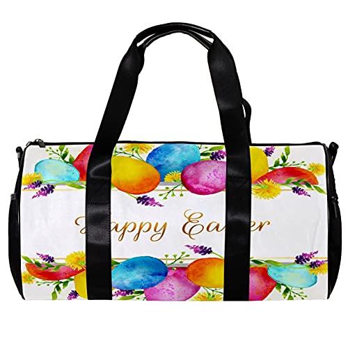 Borsone per le Donne Uomini Colorato Uova di Pasqua Felice Sport Palestra Tote Bag Weekend Pernottamento Borsa Da Viaggio All'aperto Bagagli