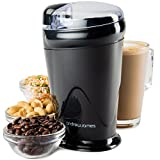 Andrew James Electric Coffee Grinder for Beans Spices Nuts 150W Machine Stainless Steel Blades & Transparent Lid | 70g | Black