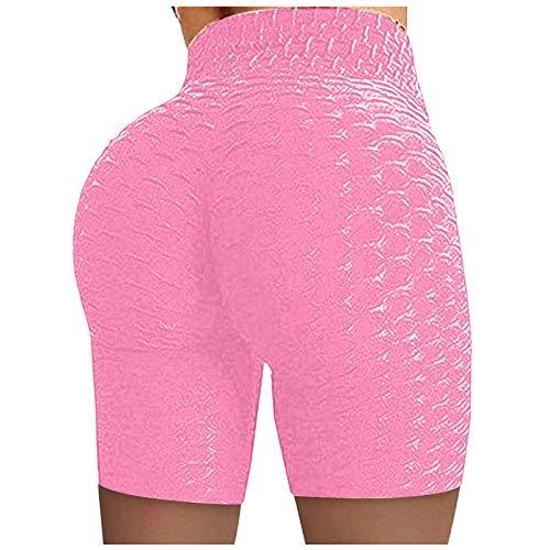 Damen-Shorts mit Wabenmuster, für Laufen, Radfahren, Yoga, Sport, Fitnessstudio, hohe Taille,gerüscht,Booty,hohe Taille Butt Scrunch Booty Gym Workout Laufen Biker Shorts für Damen