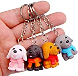 Cute Puppy Dog Keychain Keyring, sunliveus 4 Pack Puppies Dogs Miniature Pendant Key Ring for Women and Men, Boys and Girls (Scarf Puppies)