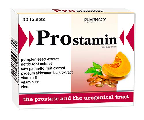 Pharmacy Laboratories Prostamin Prostate & Urinary Tract Support Supplement | 30 Tablets | Contains Pumpkin Seed & Saw Palmetto Fruit Extracts | Suitable for Men Over 40 Years Old | Bladder Control