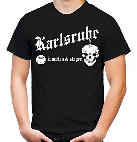 Karlsruhe kämpfen & Siegen Männer und Herren T-Shirt | Fussball Ultras Geschenk | M1 (XL, Schwarz)