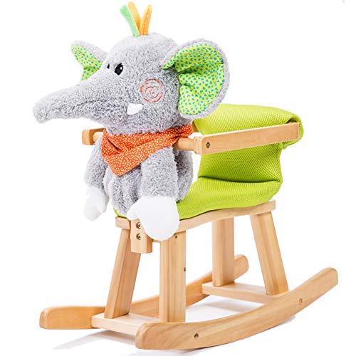 Baby Bites GOUO@ Caballo Mecedora De Felpa para Niños Música para Niños Paseo En Juguete De Madera Maciza Infantil (niño Niña) Silla Mecedora Estilo Elefante