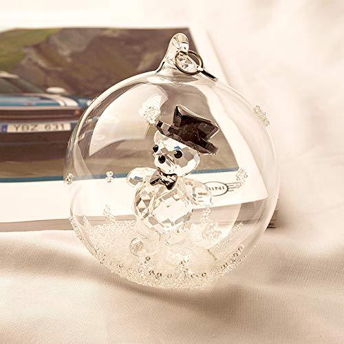RAP Auto hanger fantasie diamanten hanger glas bal auto kristal hanger glanzende achteruitkijkspiegel vrouwelijke sieraden knuffel beer glas bal hanger