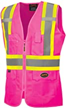 Pioneer Safety Vest for Women – Hi Vis Reflective Neon – Fitted Mesh, Zipper, 9 Pockets – Traffic, Security, Volunteer Work – Pink, Orange, Yellow/Green