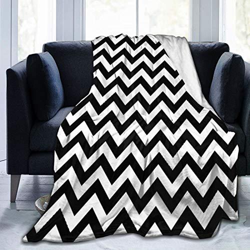 HUAYEXI Manta de Franela Suave,Moderno Patrón ZIG Zag en Blanco y Negro,Cama de Camping para sofá 204x153cm