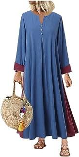 neveraway Women Linen Long-Sleeve V-Neck Plus-Size Big Hem Maxi Long Dress