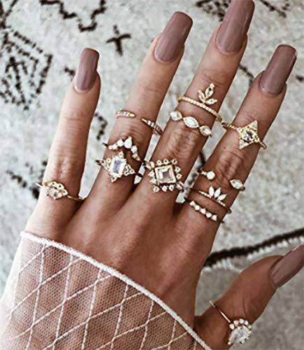 Deniferymakeup 12 stks Vintage Goud Diamanten Ringen Boho Knuckle Set Ring Gezamenlijke Knuckle Ring Set voor Vrouwen en Meisjes Tieners
