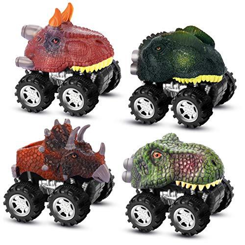 ATOPDREAM Jouet Garcon 2-8 Ans, Dinosaure Pull Back Voitures Jouets pour Enfants de 2-8 Ans Cadeau d'anniversaire Fille Jouet Enfant Garcon 2-8 Ans Cadeaux pour Fille 2-8 Ans (Pack de 4)