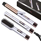 PARWIN PRO BEAUTY Hair Styling Set -Includes 1'' Flat Iron,1.25'' Curling Iron & Hair Straightener Brush with Detachable Power Cord, LED Temp Control & Instant Heat Up, Dual Voltage, for Home & Travel