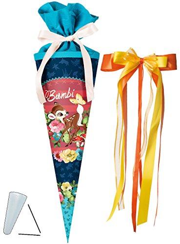 alles-meine.de GmbH Schultüte -  Disney - REH Bambi  - 50 cm - rund - incl. große Schleife - mit Tüllabschluß - Zuckertüte - mit / ohne Kunststoff Spitze - für Jungen & Mädchen..