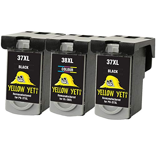 Yellow Yeti PG-37 CL-38 Cartuchos de Tinta remanufacturados (2 Negro, 1 Color) para Canon Pixma MP210 MP220 MX310 MX300 MP140 MP190 MP470 iP1800 iP2600 iP2500 iP1900 [3 años de garantía]