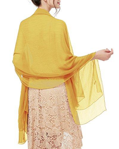 bridesmay bridesmay Damen Strand Scarves Sonnenschutz Schal Sommer Tuch Stola für Kleider in 29 Farben Ginger Yellow