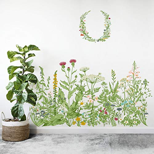 Decoration Large Wreath Garland Wall Decal, MOTASON Removable PVC Flower Wall Stickers for Decor Girls Boys Kids Nursery Baby Home Living Room Bedroom Kitchen (35x23 inch)