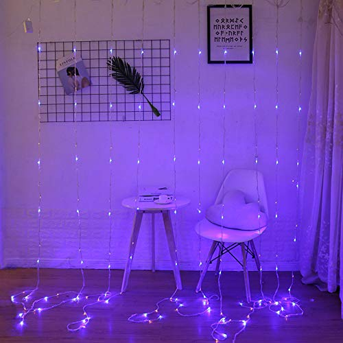 SYQS Cortina de luz de Las Luces de Estrellas Cadena de luz LED, Cascada Enciende Las Luces carámbano Decorativa Alquiler de Luces, Parpadeo Impermeable 0.8m X 4 Purple