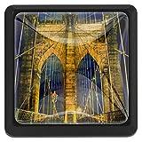 Square Brooklyn Bridge In New York City Confezione da 3 pomelli per cassetti Maniglia per mobili Maniglia per cassetti Manopole per comò, armadi, armadio, libreria