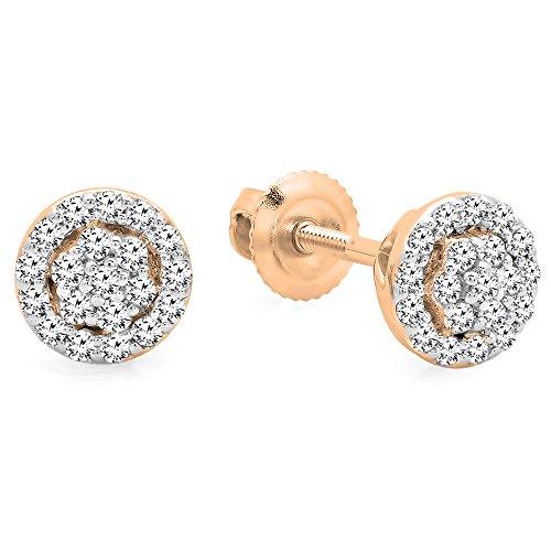 Dazzlingrock Collection 0.25 Carat (ctw) 14K Round White Diamond Ladies Circle Cluster Stud Earrings, Rose Gold (0.25 Ct Dazzling Diamond)