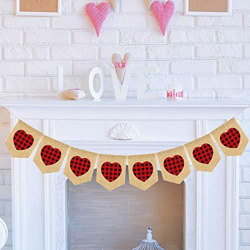 Doumeny Valentine's Day Burlap Banner Black Red Plaid Heart Garland Valentine Heart Banner Vintage Rustic Burlap Bunting for Engagement, Bridal Shower,Wedding, Anniversary, Valentines Decor