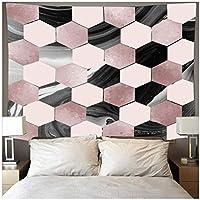 Zzdhewyz 美しい大理石のテクスチャタペストリーピンクグレー格子縞アート背景壁掛けビーチマット寝室の装飾150X100cm