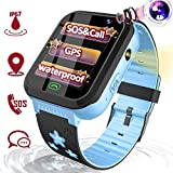 Kids Smart Watch GPS Tracker, Waterproof Smartwatch Phone for Age 3-12 Boys Girls, Toddler Electronic Wrist Watch Outdoor Sport Watch with Anti-Lost SOS Emergency Call Game Easter Birthday Travel Gift