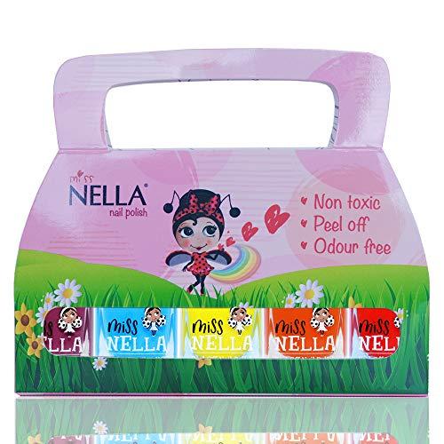 Miss Nella Sommerzeit Special - 5er Pack Kinder Nagellack mit Peel-off-Formel auf Wasserbasis Non-Toxic - Nagellack für Kinder