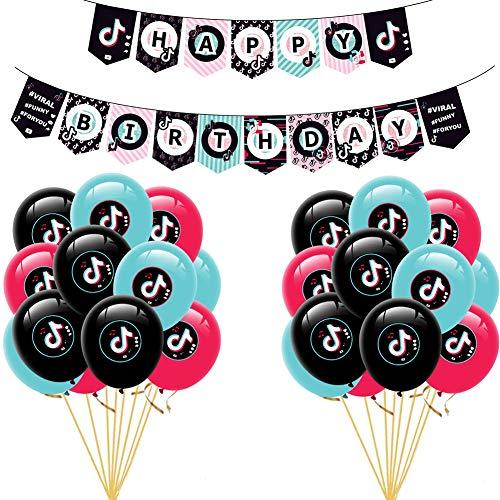 JAHEMU TIK Tok Happy Birthday Banner Ballons, 25pcs Suministros de Decoración de fiesta for Musical Party Celebration Birthday Party Supplies