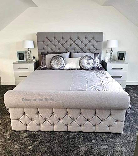 "Discounted Beds Premium Upholstered Sleigh Bed Frame, Crushed Velvet Material, Contemporary 48"" Headboard, Manufactured In The UK, 3Ft, 4Ft, 4Ft6, 5Ft, 6Ft - Sizes, Toronto.(Single 3ft)"