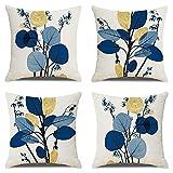 Housse De Coussin Bleu Fleurs Exterieur Coussin Scandinave Coussins DéCoratifs Lot De 4 Jardin Coussins pour Canapé Decoration 45x45cm
