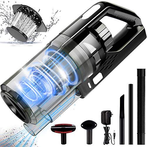 Hwook Aspiradora portátil de mano – Aspiradora inalámbrica recargable de 8 KPA con aspiración húmeda/seca, potente ciclónica, ligera y de carga rápida, para limpieza del hogar y del coche, negro y gris