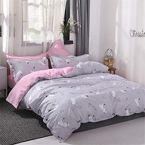 Omelas Girls Grey Bedding Duvet Cover Set Twin Kids Lovely Cats Playing with Pink Geometry Reversible Quilt Cover Super Soft Microfiber Bedding Collection,2 Pillow Shams,Zipper Closure(KAMM,T)
