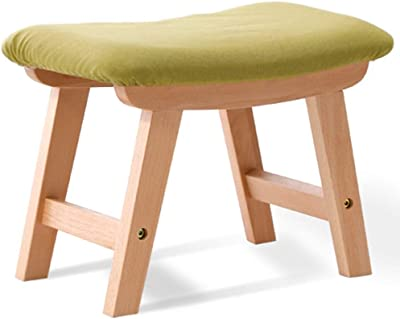 LJFYXZ Upholstered Footstool Ottoman Detachable Linen Cover Saddle Stool Indoor and Outdoor Solid Wood Shoe Bench Bearing Weight 150kg (Color : Green)