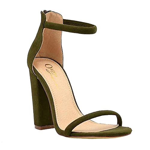 9caa95db2157a Olive Sandals with Heels: Amazon.com